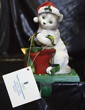 New Truffles Grey Cat Adorable Christmas Holiday Stocking Holder Figurine