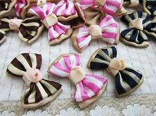 60 Pink/Brown/Black Stripes Satin Ribbon Bow Applique/French Knot/Hand made F4