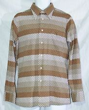 MERVYN'S MEN'S COLLECTION Vintage Leisure Shirt SZ 16-L-16 1/2 Striped Browns