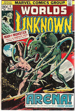 """Worlds Unknown #4 (1973) Marvel Comics """"Arena"""" by Fredric Brown Vg+"""