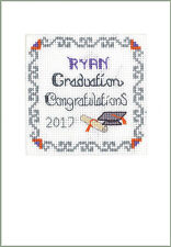 Graduation Congrats cross stitch greeting card - complete kit with COLOUR chart