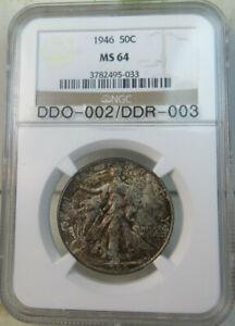 1946 walking Liberty half dollar NGC MS64 *DDO-002/DDR-003* BR