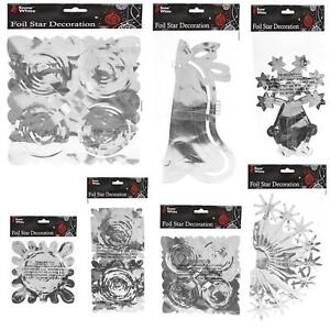 Snow White Christmas Foil Ceiling Decorations - Silver & Gold - Choose