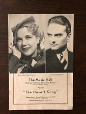 The Music Hall The Desert Song Playbill | 1937 | Bernice Claire Guy Robertson