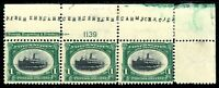 USAstamps Unused VF US 1901 Pan-American Plate # Strip Scott 294 OG MNH, HR