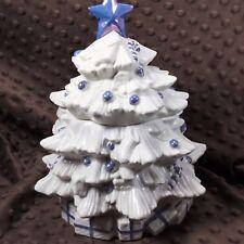 Lefton Purple & White Christmas Tree Cookie Jar Ceramic Iridescent Glazed 2000