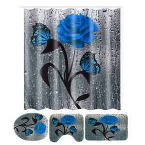 4Pcs Bathroom Set Blue Rose Waterproof Shower Curtain Non-Slip Rug Toilet Carpet