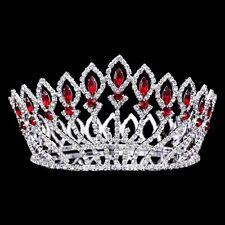Bridal Pageant Red Rhinestones Crystal Prom Wedding Tiara Full Crown 71020