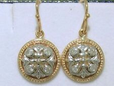 E077- Genuine 9ct Solid Gold Natural Diamond Fleur-de-Lis Earrings Two-Tone
