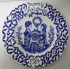 ROYAL CROWNFORD STAFFORDSHIRE BLUE AND WHITE VINTAGE CHRISTMAS PLATE 1984 EUVC