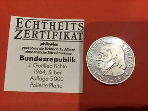 5 DM Fichte 1964 J in polierter Platte (PP) - selten nur 5.000 Exemplare geprägt