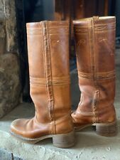 Vintage Boho Western Campus Leather Longhorn Riding Hippie Boots 5 M