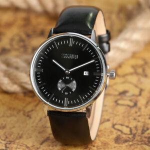 Casual Skmei Men's Date Leather Band Waterproof Army Sport Quartz Wrist Watch
