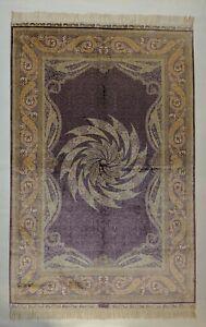 4 x 6 Rug Shines Violet Amethyst Gold Jewel tone Novel Design 400 KPSI fine Silk