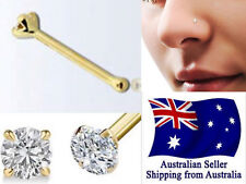 Solid Sterling Silver Gold Plated Nose Bone Pins Studs 22g Bar with CZ Head 1pc