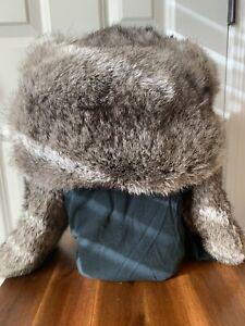 Vintage 1970s Soviet Russian Rabbit Ushanka Fur Hat