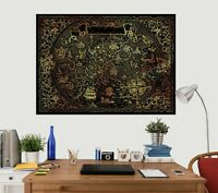 3D Drache 130NAM Welt Karte Wandaufkleber Wandtattoo Tapeten Wandbild Fay