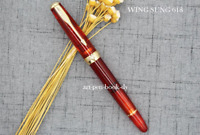 Wing Sung 618 Transparent Red Piston Fountain Pen Fine Nib Golden Clip