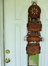 Nice VTG American Folk Art Document Mail Leather Organizer to Hang on Wall Door