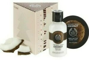 The Body Shop Coconut 2 piece Bath & Body Gift Set In Christmas Tree Box NEW