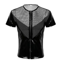 Men's Wetlook Leather Fishnet Short Sleeve Underwear Lingerie T-Shirt Clubwear
