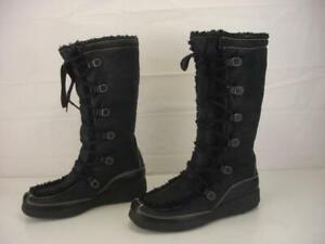 Women's 9.5 M Ugg Uptown Lace-Up Black Sheepskin Shearling Fur Boots Tall Winter