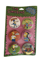 The Simpsons Set of 6 Pins Pinback Button 1990