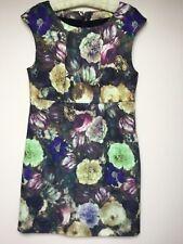 WOMENS DARLING LAYLA SEMI FITTED FLORAL PRINT DRESS Size L