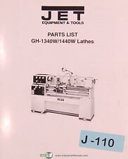 Jet Gh-1340W 1440W, Lathes, Parts List and Drawings Manual Year (2000)