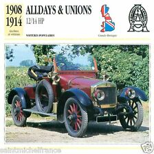 ALLDAYS & UNIONS 12/14 HP 1908 1914 CAR VOITURE GREAT BRITAIN CARTE CARD FICHE