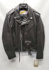 SCHOTT NYC 118 Classic Perfecto Black Leather Motorcycle Jacket Size 42