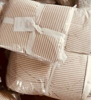Pottery Barn Wheaton Stripe Sherpa Euro Sham Flax Neutral Accent Pillow Cover