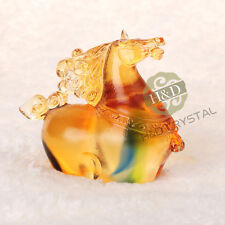 Crystal Horse Liuli Paperweight Collections Decor Business Chinese Fengshui
