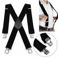 50mm Unisex Mens Men Braces Plain Black Wide & Heavy Duty Adjust Suspenders H3I7