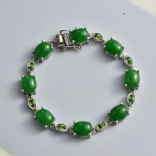 GREEN JADE, RUSSIAN DIOPSIDE BRACELET IN PLATINUM OVER STERLING SILVER, SZ 7.25