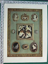c1930 FRENCH PRINT L'ILLUSTRATION ~ VARIOUS CAMEO BROOCH STYLES PORTRAITS