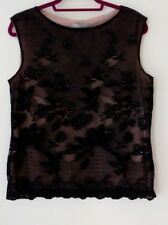 Marks and Spencer size 16 black lace sequin sleeveless vest top blouse cami VGC