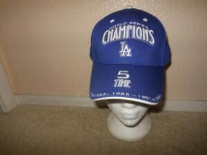 RARE LOS ANGELES LA DODGERS 5 TIME WORLD SERIES CHAMPION DODGER BLUE CAP HAT MLB