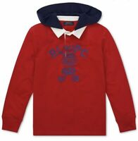 Ralph Lauren Kids Boy's Red Collared Hooded Long Sleeve Rugby Shirt 2y-20y £55