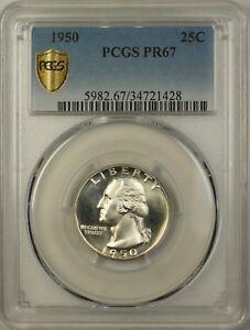 1950 Proof Washington Quarter 25c Coin PCGS PR-67 (Cameo)
