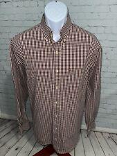 IZOD Men's Shirt Size L Orange-Red/White Micro-Check Button-down Long Sleeve