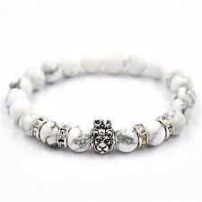 Gemstone Distance Bracelet Men's Women's White Lion Energy Stone Beaded Charm