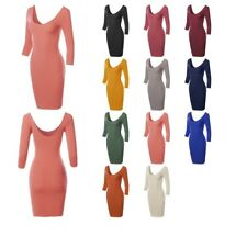 FashionOutfit Women's Basic Solid Deep Scoop Back-Neck 3/4 Sleeve Body-Con Dress
