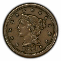 1854 1c Braided Hair Large Cent - XF/AU Coin - SKU-Y2850