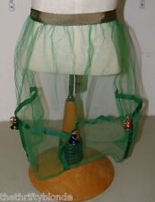 Vintage Half Apron Green Tulle w/ Bells Christmas Xmas Holiday 17074