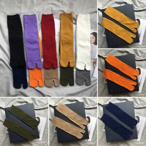 1Pair Two-Toed Tabi Socks Solid Color Flip Flop Kimono Long Soft Split toe socks
