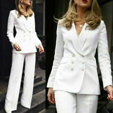 Linen Women Suits Double-Breasted Jacket White Wedding Business Tuxedos Blazers