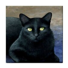 Large Ceramic Tile 6x6 Printed in USA black Cat 621 art painting by L.Dumas