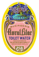 Vintage-Perfume Advert Buergers Floral Lilac Toilet Water Denver Co Poster Print