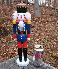 "NWOB Christmas wood Nutcracker Soldier Guard Blue 15"" tall Holiday Decoration"